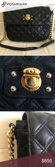 """Marc by Marc Jacobs Quilted Leather Shoulder Bag Black quilted leather. Chain shoulder strap with tonal leather top; 13"""" drop. Flap over magnetic closure. Studded plate detail at center. Inside, a center dividing zip pocket, one open, and one zip pockets.   Dust bag included. Worn no more than 5 times. Little wear on inside and on maybe an inch of the handle due to being hung on a hanger but other than that, absolute great condition.   By Marc by Marc Jacobs. Bought at Nordstrom.   8""""H x…"""