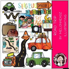 Road Trip clip art - by Melonheadz Travel Themes, New Set, Colour Images, Clipart, I Shop, How To Draw Hands, Road Trip, Card Making, Black And White