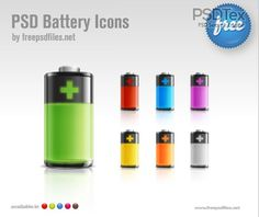 Mobile UI design Crystal textured battery icon PSD