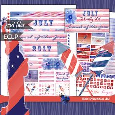 July Monthly Kit, 4th of July Planner Stickers, July Watercolor Planner Stickers Printable, Erin Condren Monthly Kit,  Cut file, St-318 by BestPrintables4U on Etsy