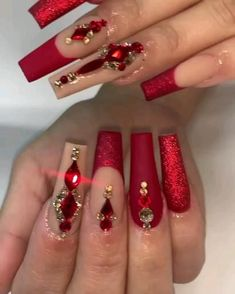 IG: karinas_nails_rodriguez [Video] in 2021 | Gold acrylic nails, Nails design with rhinestones, Quinceanera nails Long Red Nails, Red Ombre Nails, Red And Gold Nails, Red Stiletto Nails, Red Sparkly Nails, Gold Acrylic Nails, Long Square Acrylic Nails, Rhinestone Nails, Bling Nails