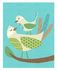 Mid Century Birds Print 8x10 by bangbangyourethread on Etsy