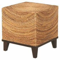 "This hand-woven abaca end table brings organic appeal to your living room or veranda. Product: End table   Construction Material: Twisted abaca and wicker   Color: Natural      Dimensions: 23.5"" H x 16"" W x 16"" D"