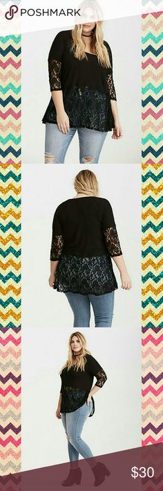 """🎀Lace Trim Thermal Tee🎀 Mixing and matching cute and cozy style has never looked so easy. The long-sleeved black thermal knit top of this tee has major snuggly and stretchy quality. Sheer lace trims the 3/4 sleeves and the bottom half, adding a romantic element to the sleepy upper half.  Model is 5'10, size 1      Size 1 measures 28 3/4"""" from shoulder     Rayon/spandex/nylon     Wash cold, line dry torrid Tops Tees - Short Sleeve"""