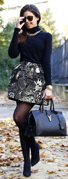 Black And White Printed A-Skirt with Black Sleeve