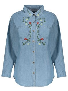 AD : Flower Embroidered Pockets Chambray Shirt - LIGHT BLUE   Style: Fashion   Material: Cotton Blends   Material Type: Denim   Shirt Length: Long   Sleeves Length: Full   Collar: Shirt Collar   Pattern Type: Floral   Decoration: Embroidery   Season: Fall   Weight: 0.370kg   Package: 1 x Shirt