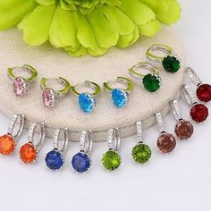 Material: Environmental Copper Jewelry color: Rhodium color Type: Luxury Gender: Women Main stone: Synthetic CZ The main stone size about The earring size aboiut The weight of earring is about Copper Jewelry, Fashion Earrings, Gender, Type, Luxury, Color, Women, Colour, Music Genre