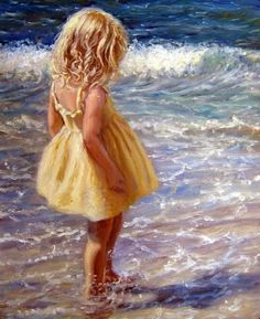 Girl at the beach art. artwork by marie witte more Paintings I Love, Beautiful Paintings, Beach Paintings, Yellow Sundress, Beach Scenes, Beach Art, Figure Painting, Dress Painting, Painting Art