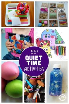 These quiet time activities are perfect for kids that have stopped taking daily naps, but are still in need of a little down time. Great list of 55 quiet time activities for toddlers and pre-schoolers Quiet Time Activities, Indoor Activities, Craft Activities For Kids, Infant Activities, Projects For Kids, Crafts For Kids, Calming Activities, Bulletins, Toddler Play