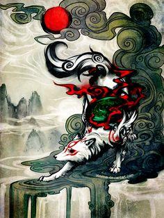 Gameranx: okami by `yuumei art wolfe, playstation, illustration manga, amaterasu, Animal Totem Loup, Yuumei Art, Illustration Manga, Art Asiatique, Amaterasu, Tatoo Art, Video Game Art, Japanese Art, Japanese Folklore