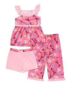Look what I found on #zulily! Pink Paris Kitty Pajama Set - Girls #zulilyfinds