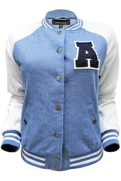 Varsity style jacket with denim body, knit sleeves, and letterman patch. Content + Care: - 100% Polyester - Machine Washable - Made in China