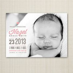 Birth Announcement  Photo Birth Announcement  Baby by westwillow