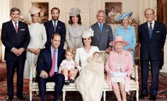 This one's for the palace wall: Princess Charlotte surrounded by her family including great-grandmother Queen Elizabeth at her christening.