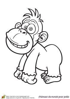 Ce petit gorille te sourit sur ce dessin, à colorier