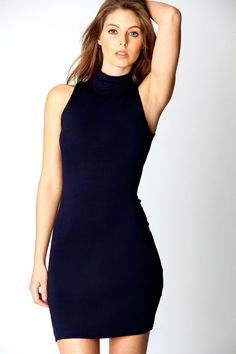 $14, Navy Bodycon Dress: Boohoo Lydia Turtle Neck Jersey Bodycon Dress.  Sold by