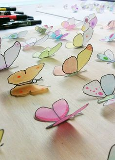 Vellum and Markers = butterflies.  Cute kid craft.