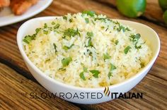 Cilantro lime rice http://www.theslowroasteditalian.com/2012/09/better-than-chipotle-cilantro-lime-rice.html