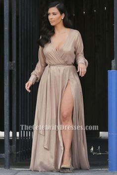 Kim Kardashian looked stunning as she stepped out of a studio in Las Vegas wearing a Nude Chiffon Wrap Dress which she complemented with Saint Laurent Pumps. The dress features a low v neck detail and thigh high slit due its wrap nature. Plus Size Formal Dresses, Plus Size Gowns, Dress Plus Size, Formal Evening Dresses, Evening Gowns, Long Sleeve Formal Dress, Plus Size Dresses To Wear To A Wedding, Bridesmaid Dresses Plus Size, Dress Formal