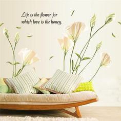 Newly Design Lily Flower Wall Sticker Removable Mural Decor Aug11