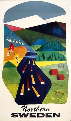 Northern Sweden by S. Kreder 1950s #travel #poster