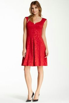 Red embossed jacquard