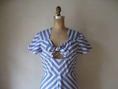 vintage 1940s dress / blue white diagonal stripes peek-a-boo tie bodice sundress pin-up bombshell. $228.00, via Etsy.