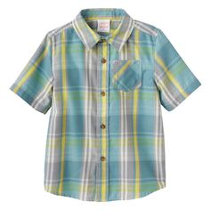 Baby Boy Jumping Beans® Plaid Flannel Short Sleeve Shirt, Size: 24 Months, Green