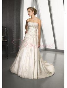 Strapless A Line Princess Chapel Train Satin Wedding Dress
