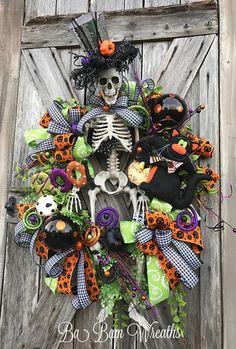 Mr. Bones Skeleton Wreath Skeleton Decor Halloween Wreath