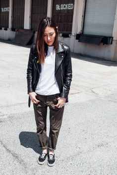 Jayne Min in her VEDA leather jacket on The Hundreds @stopitrightnow
