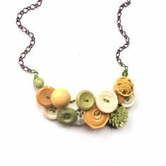 Statement Button Necklace with Yellow White by buttonsoupjewelry