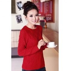 $14.82 Stylish Casual Style Scoop Neck Rhombus Print Solid Color Long Sleeves Knitted Sweater For Women