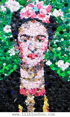 How to make a button collage: Frida Kahlo Button Art Collage via lilblueboo.com (click through to see the HD  time lapse video)