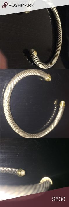 DAVID YURMAN ROPE BRACELET- barely used Authentic david yurman rope bracelet with two pearls, sterling silver and 14K gold bangle bracelet - will sell cheaper on dep0p of merc David Yurman Jewelry Bracelets