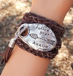 Best BOHO CHIC Jewelry, Modern Hippie Style Bohemian Fashion Leather Wrap Bracelet, Follow Your ARROW, by HappyGoLicky $125 | Coupon code PIN10 saves you 10% now- just CLICk #gypsy #inspirationalquote
