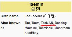 """'TaeMAN"""" is official on Wikipedia (under 'Also Known As')  - shinee Photo"""
