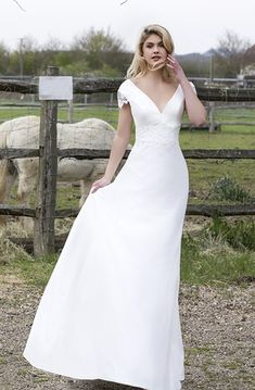 A-Line Fantastic V-Neck Soft Flowing Fabric Capped Pleated Gown - June Bridals Wedding Frocks, Wedding Party Dresses, Lace Wedding, Flattering Wedding Dress, Keyhole Dress, Short Dresses, Dress Long, Bridal Gowns, Lace Dress