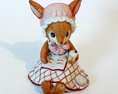 Lefton China // BUNNY RABBIT FIGURINE // Vintage // Girl Reading // Porcelain // 1980's // Collectible // Spring/Easter