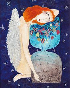 "348 Me gusta, 3 comentarios - Andrea Kürti (@kurti.andrea) en Instagram: ""Ángeles – Agenda 2018, Editorial Groh(2017) . . . #illustration #time #angels #angeles #agenda2018…"""