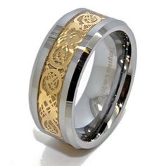 Blue Chip Unlimited - Unique 10mm Tungsten Carbide with 18k Gold Plated Celtic Dragon Inlaid Wedding Band Engagement Ring Fashion Jewelry Gift (Available in Sizes 7-17) Blue Chip Unlimited. $27.95. Wide Comfort Fit Cobalt Free 10mm Band with 18k Gold Plated Celtic Dragon Inlay. Sleek Tungsten Carbide Ring - Not Resizable but we are more than happy to exchange it for you. Shape: Flat with Bevel Edges; Finish: High Polish. **Please verify your size before checking out*...