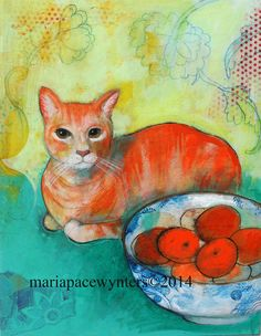 Oranges Original mixed media painting by Maria by MariaPaceWynters, $380.00