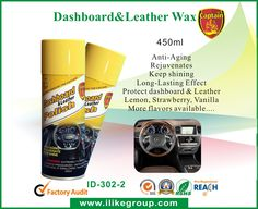 Captain Dashboard Wax is the perfect spray wax for leather, plastic and rubber. With an overseas advanced formula, it helps protect dashboard and car seats and tires from fading, wrinkling and aging, and provides a glossy finish. It can also effectively prevent the dusts produced by static electricity. Applications: dashboard, cockpit, leather, car tire, bumper,etc Flavors available: Lemon, Strawberry, Vanilla, Apple, Ocean, New Car, Orange, Cologne, etc