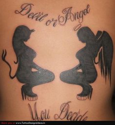 good girl bad girl tattoo | Tatto design of Good and Evil Tattoos good and evil ...