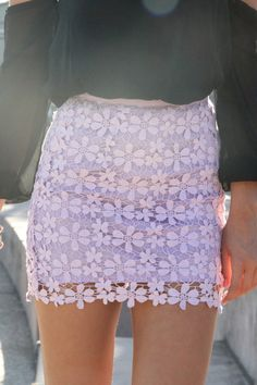 lilac crochet skirt + off the shoulder blouse Cute Skirts, Mini Skirts, Pretty Outfits, Cute Outfits, Sabo Skirt, Colorful Fashion, Pattern Fashion, Passion For Fashion, Style Me