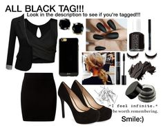 """Black Tag!!"" by kristinberchak ❤ liked on Polyvore featuring beauty, Jessica Simpson, J.TOMSON, Sonix, B. Brilliant, Essie, Monki, Bobbi Brown Cosmetics and Wallflower"