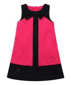 Richie House Pink Color Block Wool-Blend Shift Dress - Infant, Toddler & Girls | zulily