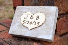 Ring Bearer Box - Shabby Chic Rustic Wedding Decor - Ring Bearer Pillow Alternative - Personalized Ring Box - Distressed Ring Box