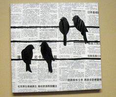 Attack of the Hungry Monster: Gift Idea Wednesdays: DIY Bird Art Sheet Music Crafts, Old Sheet Music, Flying Bird Silhouette, Silhouette Painting, Cuadros Diy, Bird Crafts, Map Crafts, Square Canvas, Newspaper Crafts