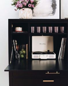 """I'm sharing a glam bar cabinet just in time for Valentine's or """"Galentines"""" Day! Mid Century Bar, Bar Interior Design, Bar Set Up, Cabinet Styles, Creative Inspiration, Family Room, Tuesday, Secretary, Bar Cart"""